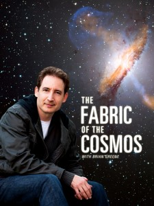 Layered art of Brian Greene, background and series title
